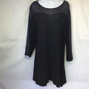 NWT Women BlacK Sweater Tunic Silver Metallic 3X